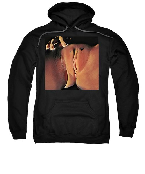 Sweatshirt featuring the digital art 2578s-mak Intimate Watercolor Of Pierced Labia Majora by Chris Maher
