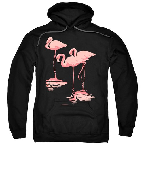 3 Pink Flamingos Sweatshirt by Walt Curlee