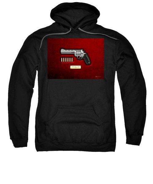 .44 Magnum Colt Anaconda On Red Velvet  Sweatshirt by Serge Averbukh