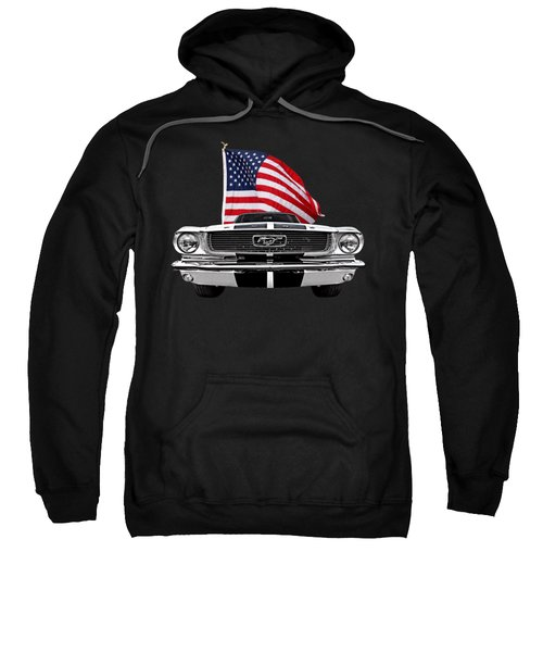66 Mustang With U.s. Flag On Black Sweatshirt
