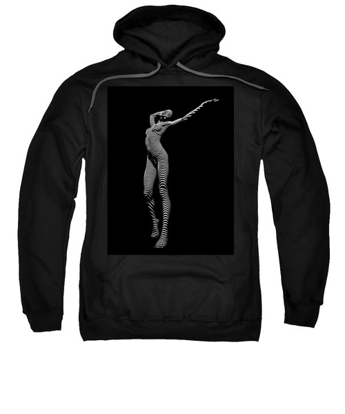 Sweatshirt featuring the photograph 9705-dja Zebra Woman Flow Of Life Black White Striped Young Woman By Chris Maher by Chris Maher