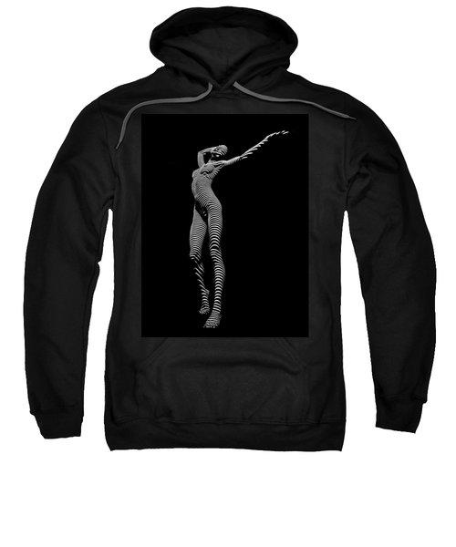 9705-dja Zebra Woman Flow Of Life Black White Striped Young Woman By Chris Maher Sweatshirt