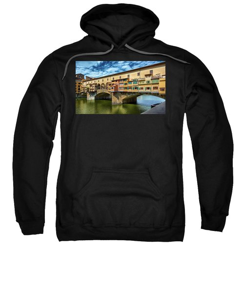 Ponte Vecchio On The Arno River Under A Blue Sky In Florence, Italy Sweatshirt