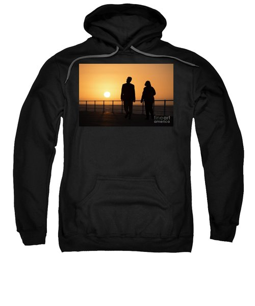 A Couple In Silhouette Walking Into The Sunset Sweatshirt