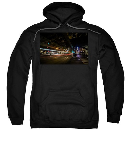 a nighttime look at Chicago's busy State and Lake Intersection Sweatshirt