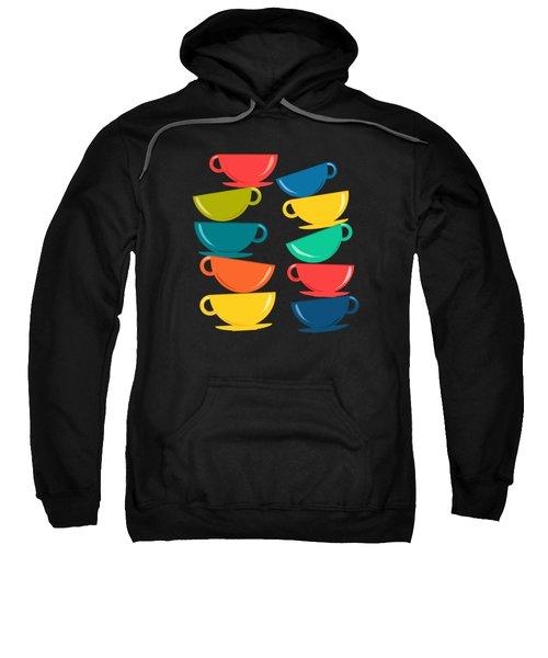 A Teetering Tower Of Colorful Tea Cups Sweatshirt