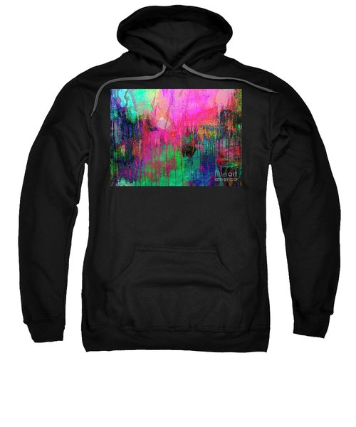 Abstract Painting 621 Pink Green Orange Blue Sweatshirt