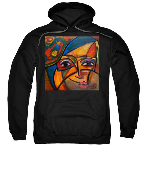 Abstract Woman With Flower Hat Sweatshirt