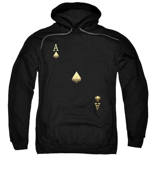 Ace Of Spades In Gold On Black   Sweatshirt
