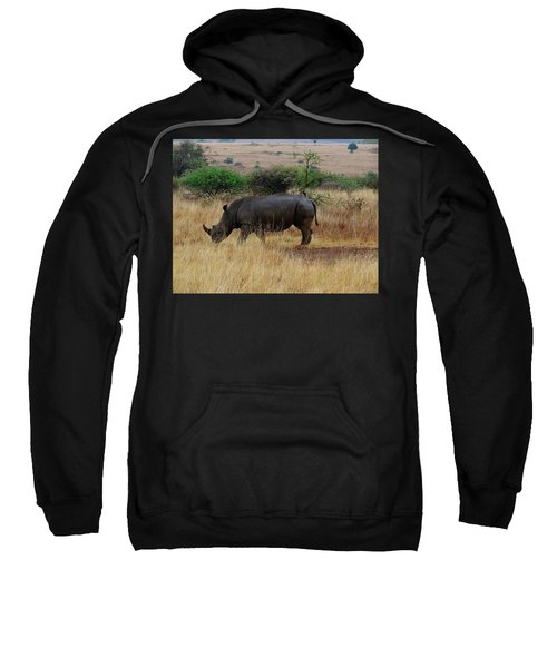 African Animals On Safari - One Very Rare White Rhinoceros Right Angle With Background Sweatshirt