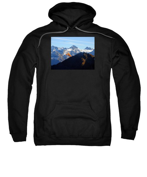 Airplane In Front Of The Alps Sweatshirt