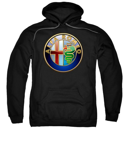 Alfa Romeo - 3 D Badge On Black Sweatshirt by Serge Averbukh