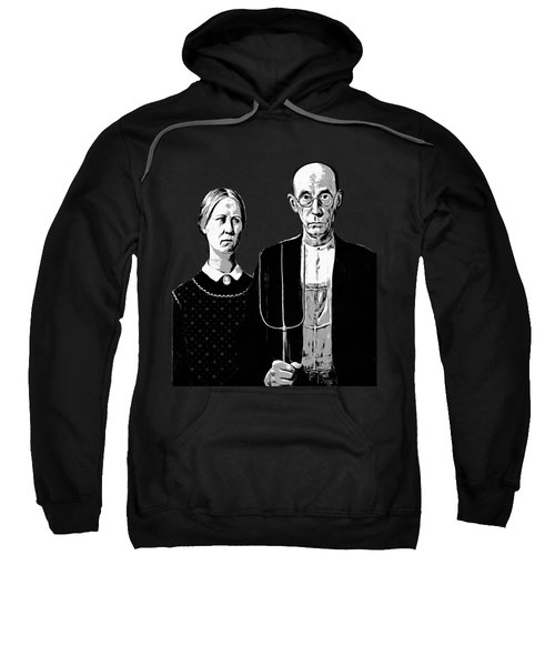 Sweatshirt featuring the digital art American Gothic Graphic Grant Wood Black White Tee by Edward Fielding