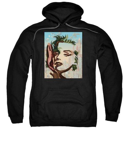 Angel, Watching The Reincarnation Of Marilyn Monroe On The Swinging City Towers Sweatshirt