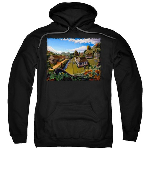Appalachia Summer Farming Landscape - Appalachian Country Farm Life Scene - Rural Americana Sweatshirt
