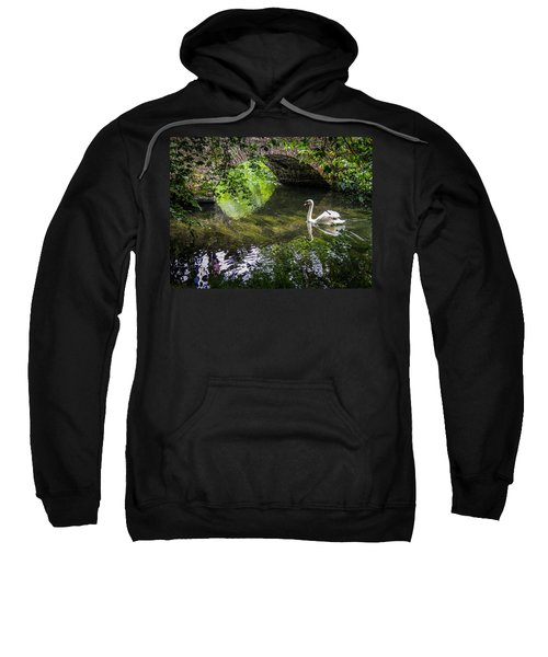 Sweatshirt featuring the photograph Arched Bridge And Swan At Doneraile Park by James Truett