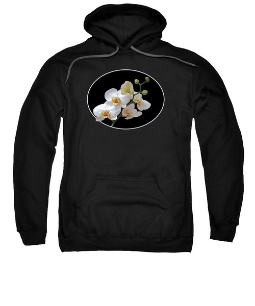 White Orchids On Black Sweatshirt by Gill Billington