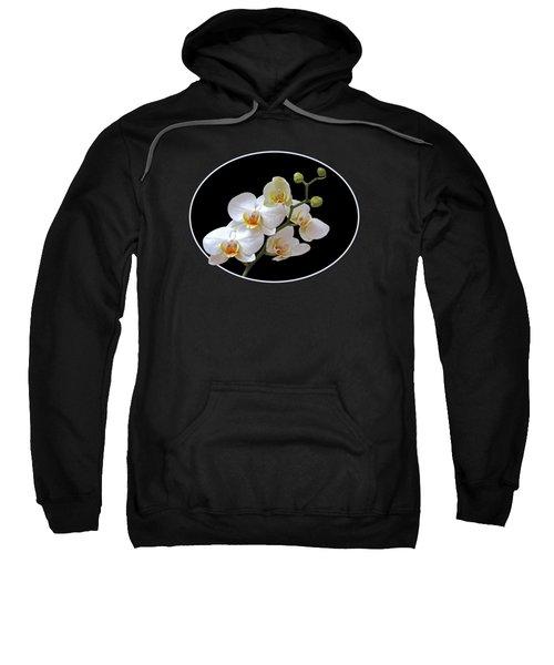 White Orchids On Black Sweatshirt