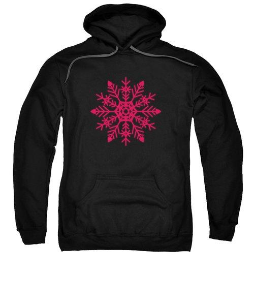Snowflakes Rubine Red And White Sweatshirt
