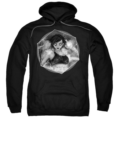 Electric Glitch - Black And White Fantasy Art Sweatshirt