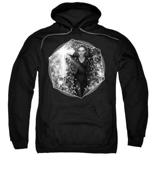 Breaking Through Darkness - Black And White Fantasy Art Sweatshirt