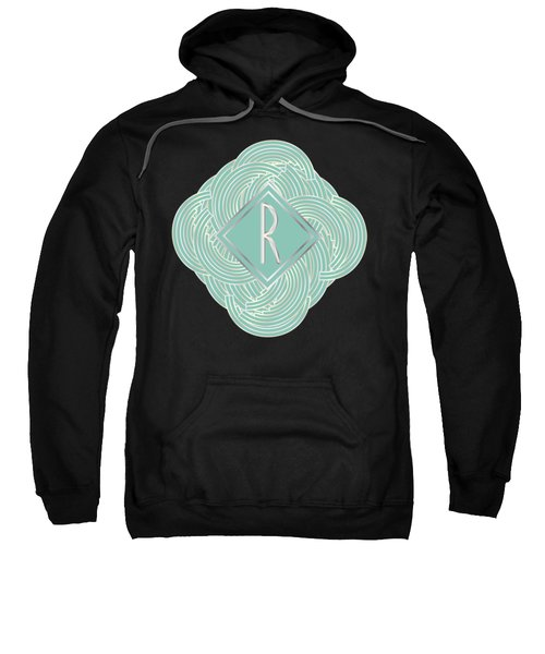1920s Blue Deco Jazz Swing Monogram ...letter R Sweatshirt