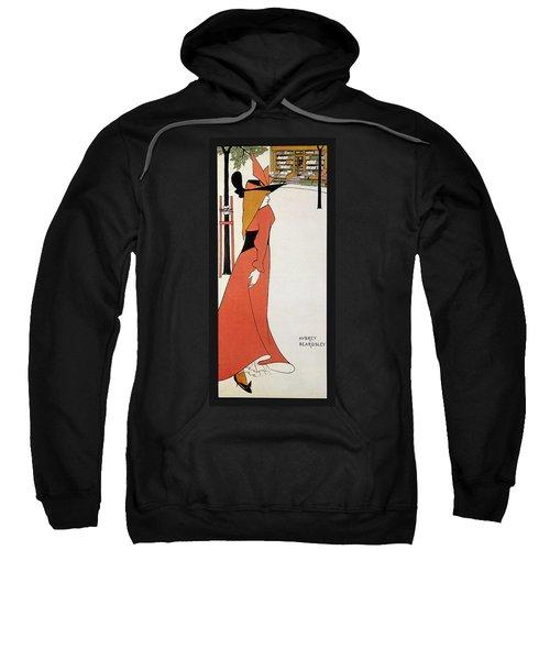 Aubrey Beardsley - Girl In Red Gown - Vintage Advertising Poster Sweatshirt