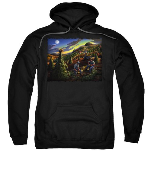 Autumn Farmers Shucking Corn Appalachian Rural Farm Country Harvesting Landscape - Harvest Folk Art Sweatshirt by Walt Curlee
