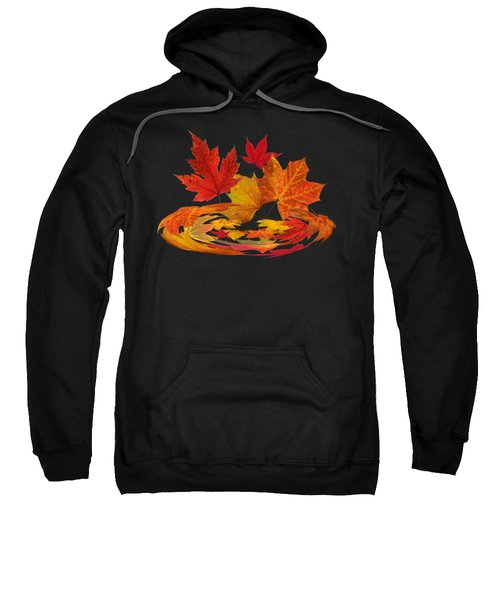 Autumn Winds - Colorful Leaves On Black Sweatshirt