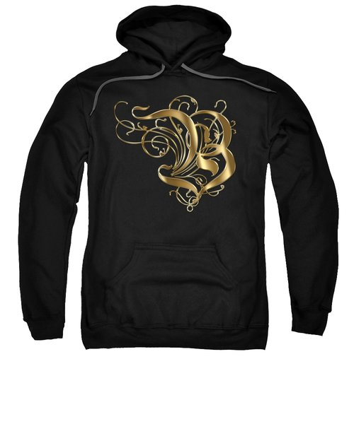 B Ornamental Letter Gold Typography Sweatshirt