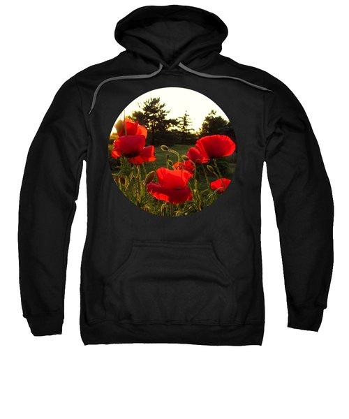 Backlit Red Poppies Sweatshirt