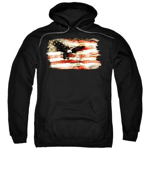 Bald Eagle Bursting Thru Flag Sweatshirt