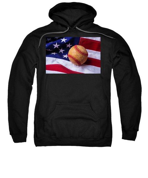 Baseball And American Flag Sweatshirt