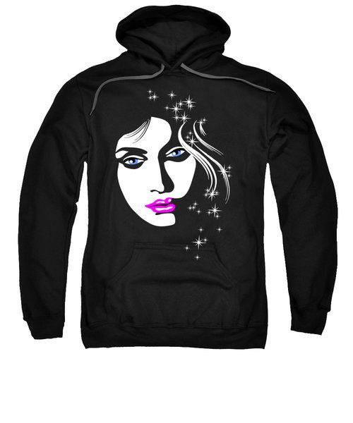 Beautiful Face Of Woman With Stars In Her Hair Sweatshirt