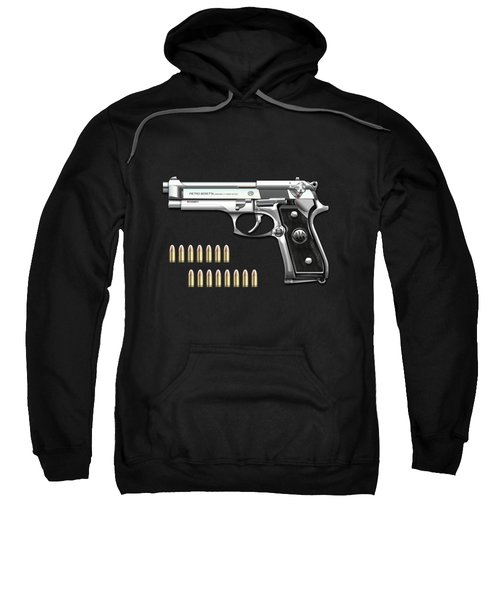 Beretta 92fs Inox With Ammo On Black Velvet  Sweatshirt