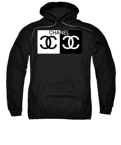 Sweatshirt featuring the mixed media Black And White Chanel by Dan Sproul
