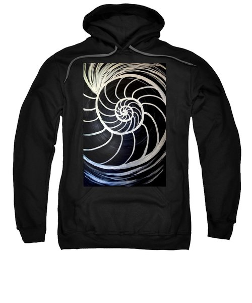 Black And White Nautilus Spiral Sweatshirt