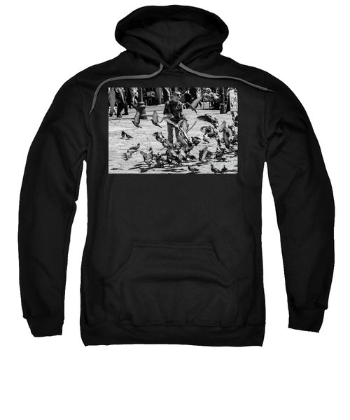 Black And White Of Boy Feeding Pigeons In Sarajevo, Bosnia And Herzegovina  Sweatshirt