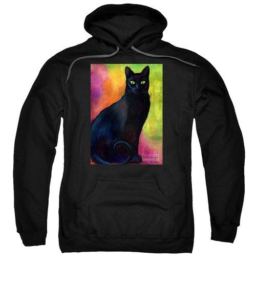 Black Cat 9 Watercolor Painting Sweatshirt