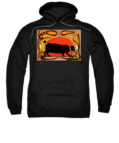 Black Cat With Floral Motif Of Art Nouveau By Dora Hathazi Mendes Sweatshirt