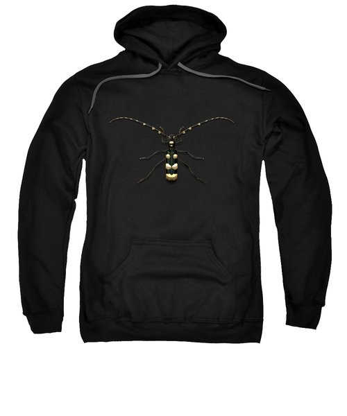 Black Longhorn Beetle With Gold Accents On Black Canvas Sweatshirt