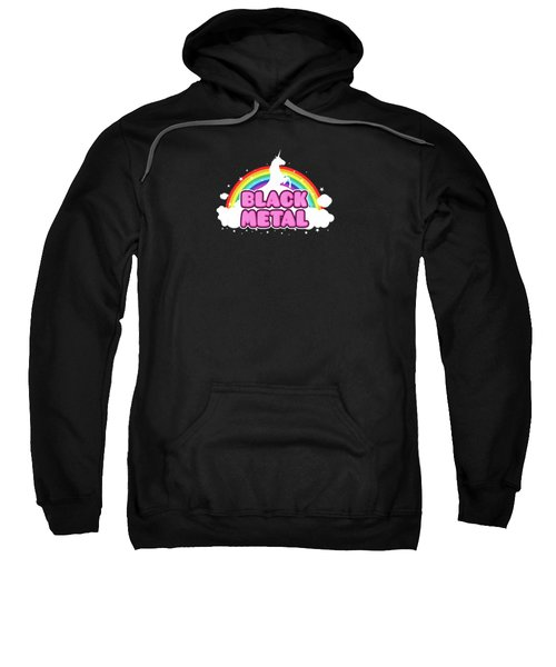 Black Metal Funny Unicorn / Rainbow Mosh Parody Design Sweatshirt by Philipp Rietz