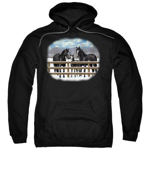 Black Quarter Horses In Snow Sweatshirt