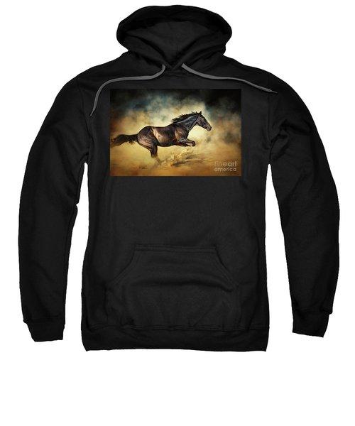 Black Stallion Horse Galloping Like A Devil Sweatshirt
