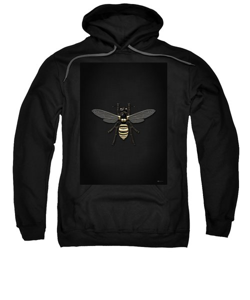 Black Wasp With Gold Accents On Black  Sweatshirt by Serge Averbukh