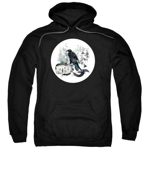 Blackwinged Birds Fly Past The Moonlit Raven's Eye Sweatshirt