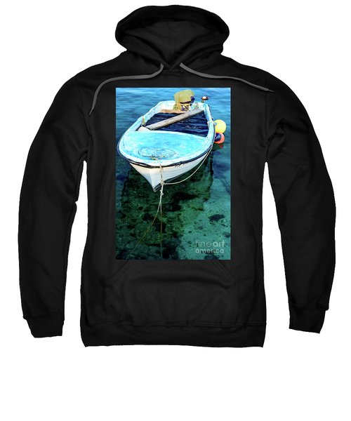Blue And White Fishing Boat On The Adriatic - Rovinj, Croatia Sweatshirt