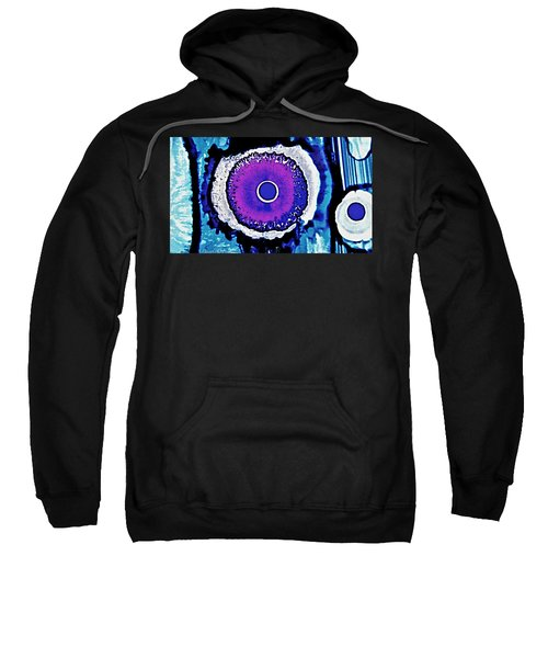 Blue Black Purple Nucleus Abstract #2 Alcohol Inks  Sweatshirt