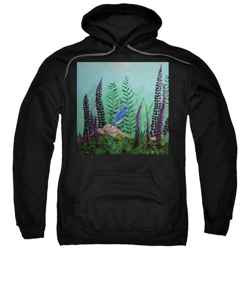 Blue Chickadee Standing On A Rock 1 Sweatshirt