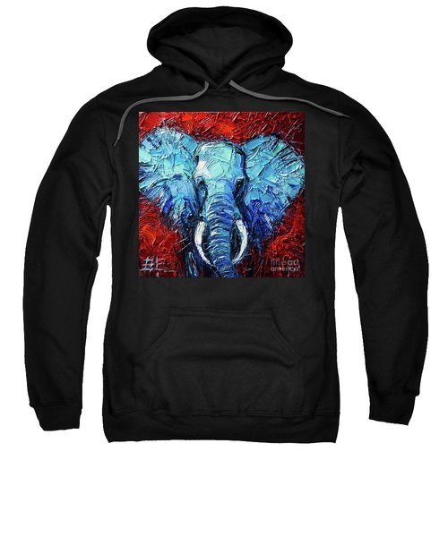 Blue Elephant Palette Knives Impasto Abstract Oil Painting Sweatshirt
